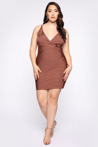 Snatched And Ready Bandage Mini Dress - Brown Angle 5