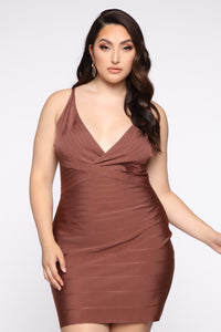 Snatched And Ready Bandage Mini Dress - Brown Angle 6