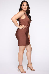 Snatched And Ready Bandage Mini Dress - Brown Angle 8
