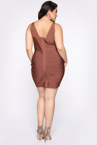 Snatched And Ready Bandage Mini Dress - Brown Angle 7