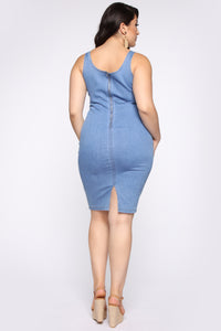 Calling My Phone Denim Midi Dress - Medium Wash Angle 6