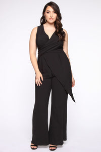 Head Held High Asymmetrical Jumpsuit - Black Angle 5