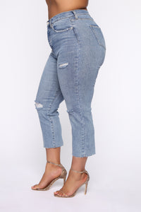 Straighten Up High Rise Jeans - Light Blue Wash Angle 10