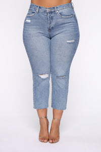 Straighten Up High Rise Jeans - Light Blue Wash Angle 8