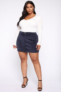 On My Level Corduroy Mini Skirt - Navy Angle 7