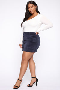 On My Level Corduroy Mini Skirt - Navy Angle 9