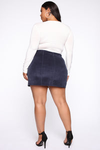 On My Level Corduroy Mini Skirt - Navy Angle 11