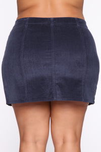 On My Level Corduroy Mini Skirt - Navy Angle 12