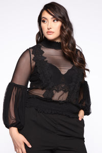 Dainty Lady Lace Top - Black