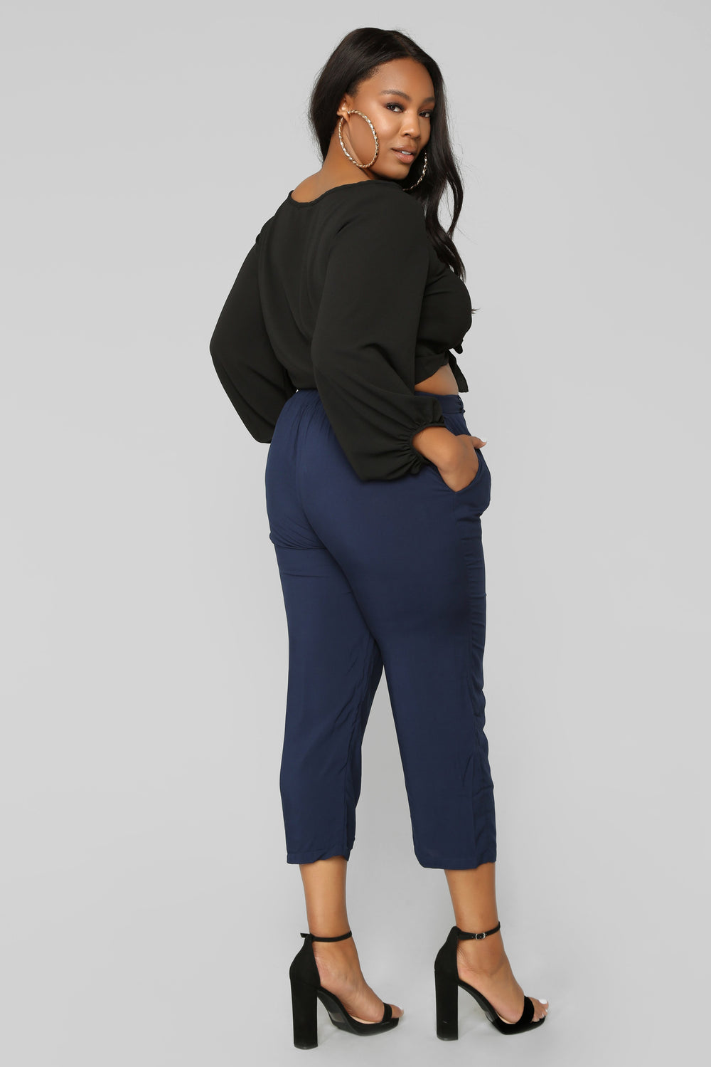 Work It Waist Tie Pants - Navy