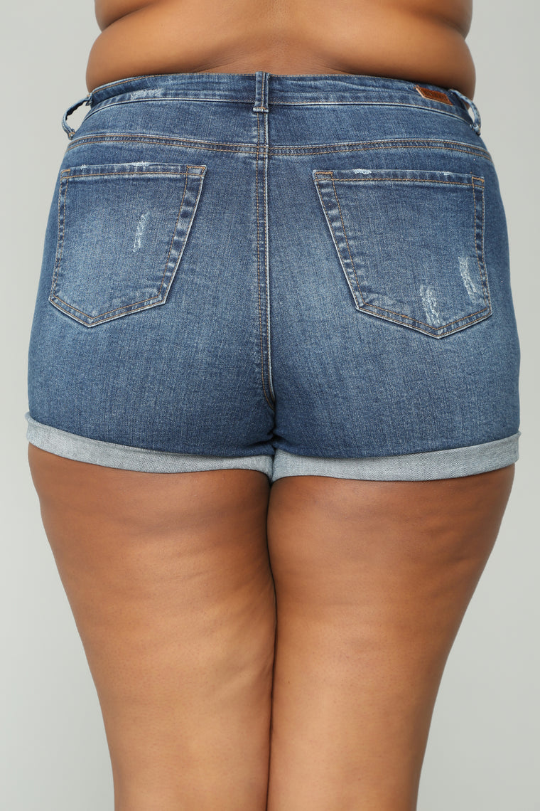 Raleigh Distressed Denim Shorts II - Medium Blue Wash