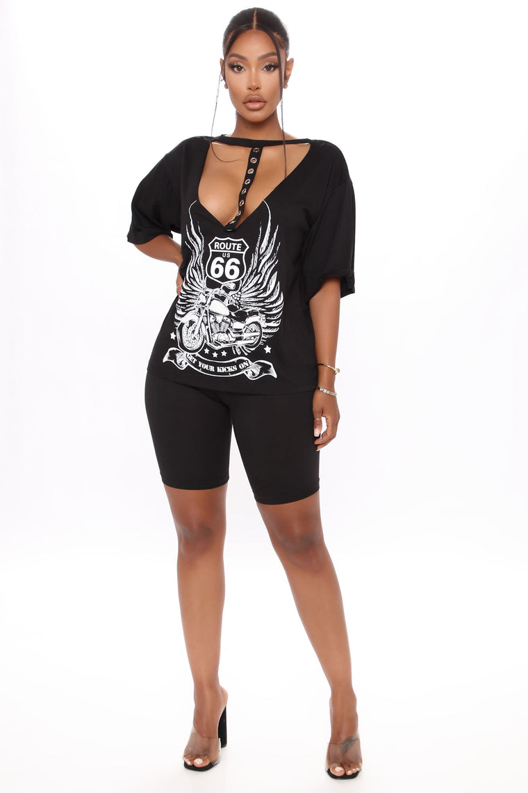 Route 66 Road Trip Tunic Top - Black