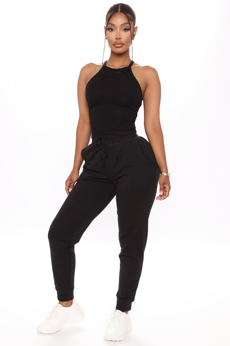 The Greatest Muscle Tank And Jogger Set - Black
