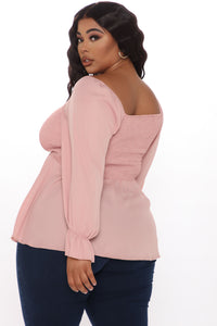 Your Sweetheart Smocked Top - Mauve Angle 3