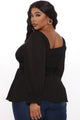 Your Sweetheart Smocked Top - Black