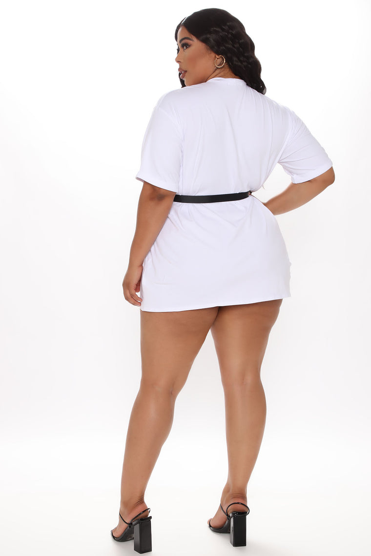 All Buckled In Belted Tee Dress - White