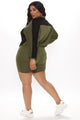 On My Way To You Biker Short Set - Olive/combo