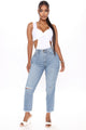 Kaylynn Distressed Straight Leg Jeans - Medium Blue Wash