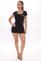 Totes Over It Romper - Black