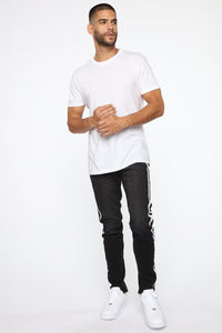 Arthur Striped Skinny Jean - Black Angle 2