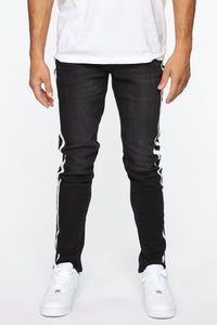 Arthur Striped Skinny Jean - Black Angle 3