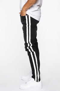 Arthur Striped Skinny Jean - Black Angle 1