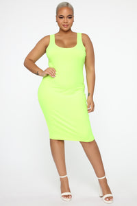 Wonderful You Midi Dress - Neon Green