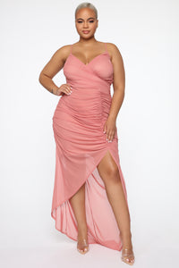 Faye Ruched Maxi Dress - Mauve Angle 5