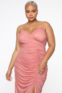 Faye Ruched Maxi Dress - Mauve Angle 7