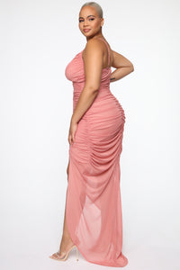 Faye Ruched Maxi Dress - Mauve Angle 8