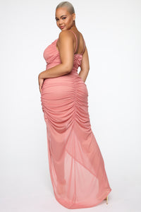 Faye Ruched Maxi Dress - Mauve Angle 6