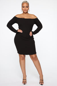 Your Cheatin' Heart Off Shoulder Mini Dress - Black Angle 2