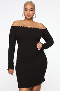 Your Cheatin' Heart Off Shoulder Mini Dress - Black Angle 1