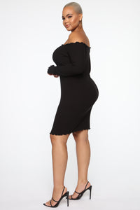 Your Cheatin' Heart Off Shoulder Mini Dress - Black Angle 3