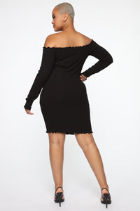 Your Cheatin' Heart Off Shoulder Mini Dress - Black Angle 4