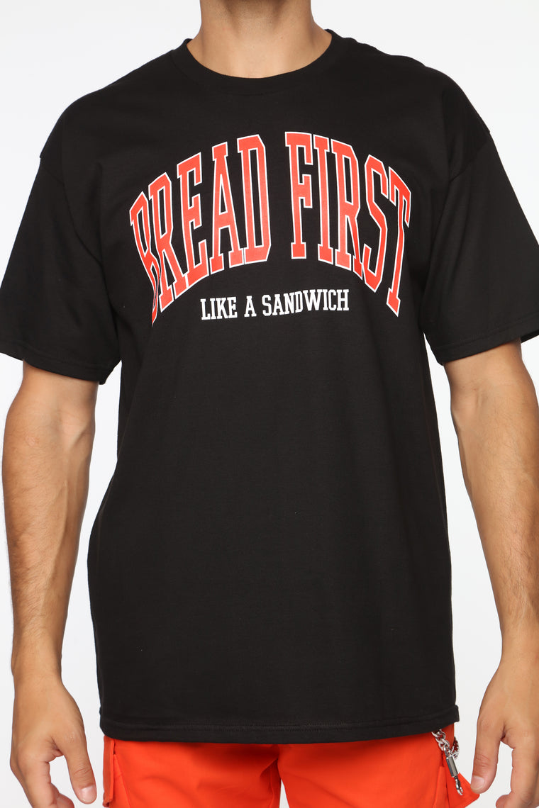 Bread First Short Sleeve Tee -Black/Red