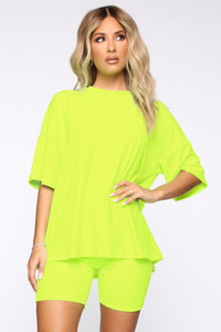 Such A Softie Velour Set - Neon Green Angle 2