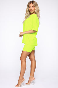 Such A Softie Velour Set - Neon Green Angle 3