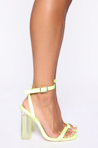 Speed Of Light Heeled Sandals - Neon Yellow