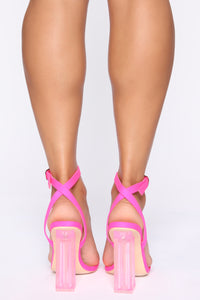 Speed Of Light Heeled Sandals - Neon Pink