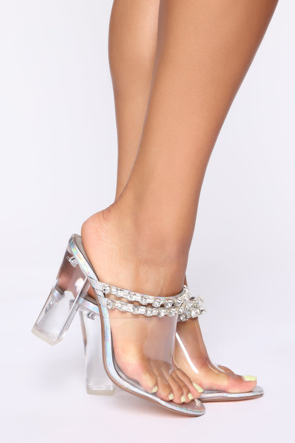 f81565efc Came To Party Heeled Sandals - Silver Iridescent