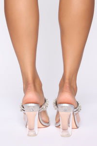 Came To Party Heeled Sandals - Silver Iridescent