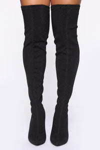 Figuring You Out Heeled Boots - Black