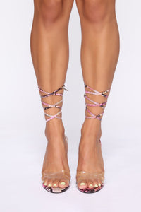 Sincerely Extra Heeled Sandals - Pink Snake