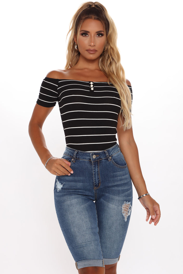 Catch Your Attention Striped Bodysuit - Black/White