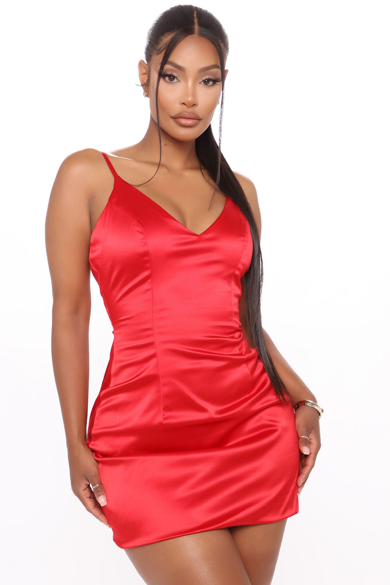 Selena Satin Dress - Red