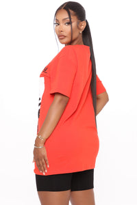 Shopaholic Short Sleeve Tunic Top - Orange Angle 3