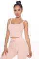 The Cutest In The Game Ribbed Tank Set - Blush