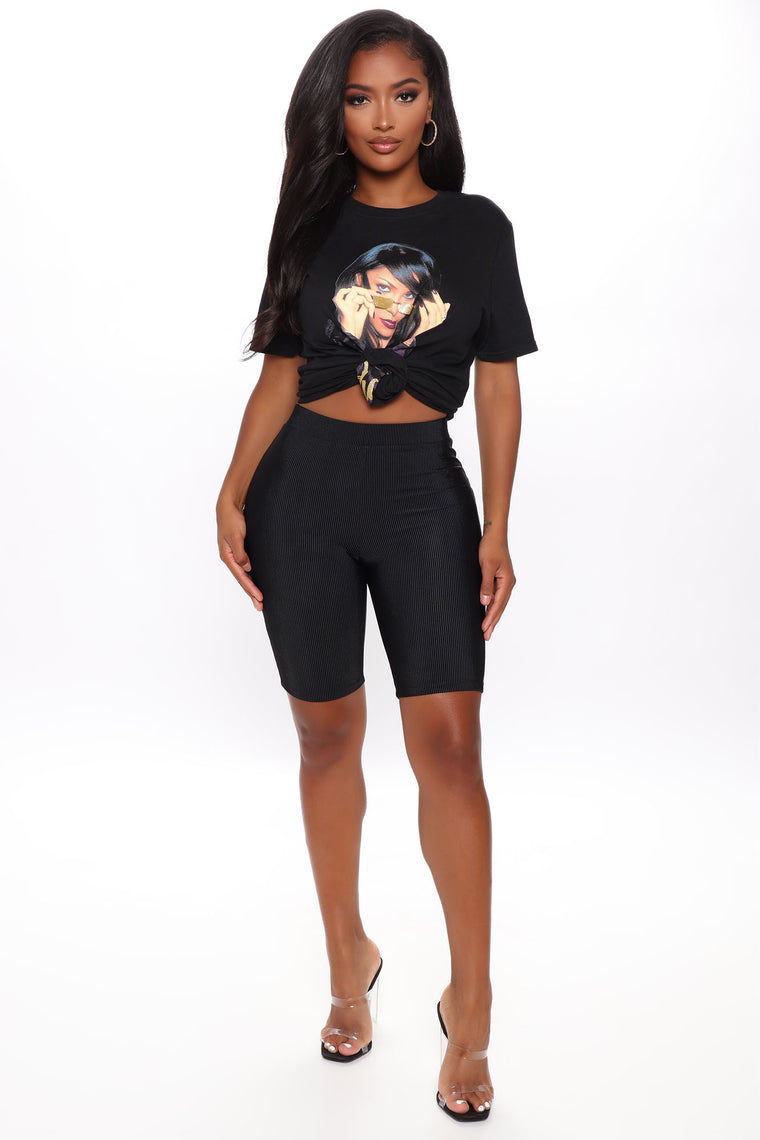 Casual Encounter Ribbed Biker Shorts - Black