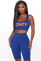 Sweet Like Honey Biker Short Set - Royal